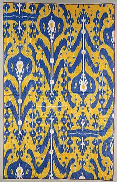 LACMA Collections Online. Uzbekistan, Ferghana Valley, Margilan  Wall Hanging or Curtain (pardah), circa 1900-1910  Textile, Silk resist-dyed warps (ikat), 96 x 60 in. (243.84 x 152.4 cm)