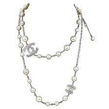 Chanel Pearl Long Necklace with Crystal CC Chanel Pearl Necklace, Chanel Pearls, Fashion Jewelry, Jewels, Crystals, Silver, Image, Trendy Fashion Jewelry, Jewerly