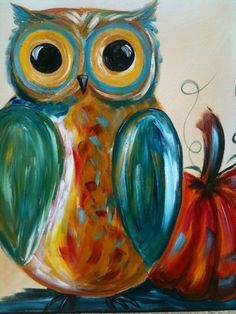 """ The Pumpkin Hooter"" By Cinnamon Cooney for Hart Party. An Owl and Pumpkin all dressed up in fall colors"