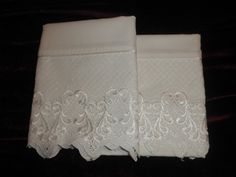 Vintage white lace edged pillowcase pair by TeresaScholleDesigns, $4.50