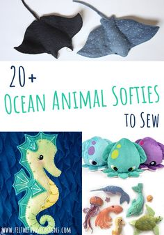 Ocean Animal Softies Sewing Patterns - Felt With Love Design.- Ocean Animal Softie Sewing Patterns – Felt With Love Designs Animal Sewing Patterns, Sewing Patterns Free, Free Sewing, Felt Patterns Free, Free Pattern, Pattern Sewing, Sewing Paterns, Felt Crafts Patterns, Bear Patterns