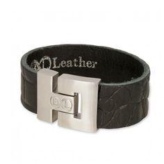 B&L Leather   Man   Armband   Zwart *** Stoere mannenarmbanden in een mooie combi van diverse leersoorten met prachtige kleuren. De armband van B&L Leather heeft een breedte van 3 cm en sluit met een magneetsluiting. Deze armband is in zwart croco.