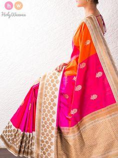 Pink-Orange Kadhuan Brocade Silk Saree