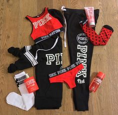 Red and black Pink outfit, Pink black sweats and hoodie, Red sports bra, Pink Pink Outfits, Sport Outfits, Cute Outfits, Vs Pink Outfit, Teen Fashion, Fashion Outfits, Victoria Secret Outfits, Victoria Secrets, Vs Fashion Shows