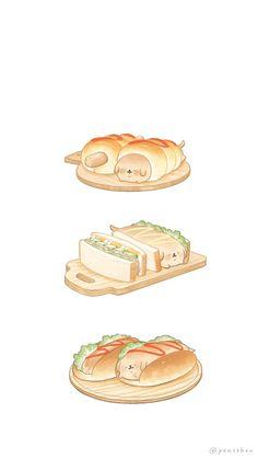Cute Kawaii Animals, Cute Animal Drawings Kawaii, Kawaii Art, Cute Food Wallpaper, Kawaii Wallpaper, Japon Illustration, Cute Illustration, Cute Food Art, Cute Art