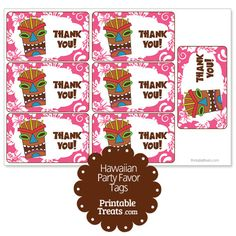 Pink Tiki Mask Party Favor Tags from PrintableTreats.com