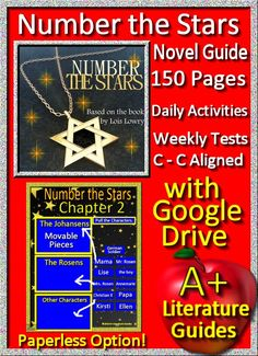 Number the Stars by Lois Lowry 150 page Novel Guide with Google Drive Option.  Daily Activities, Weekly Quizzes, Interactive Projects, Writing Assignments.  This literature guide can be used with or without Google Drive and Google Classroom.  It has two Google Slide sets with movable pieces and fill in the blanks for 20 slides of chapter activities, and 36 slides of chapter questions.  It is Common-Core aligned with the exact standards in the answer key.  Just print and go OR paperless!