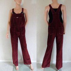 Salopette vintage scuro rosso marrone velluto Bertex retrò anni ' 70 tuta salopette svasato salopette jean di gamba denim cavo piccolo