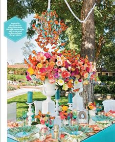 A Vibrant Spring Wedding Tablescape in blues, corals and peaches featured in Exquisite Wedding Magazine SD with Wildflower Linen and Monarch Weddings. Day Of The Dead Party, Tavern On The Green, Table Top Design, Butterfly Wedding, Butterfly Decorations, Party Table Decorations, Midsummer Nights Dream, Event Decor, Tablescapes
