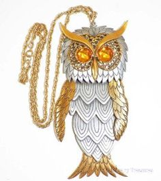 Vintage Large Gold Silver Tone Amber Eyed Owl by basketcasedebra, $45.99
