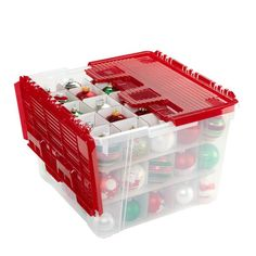 Our Wing-Lid Ornament Storage Box can store and protect up to 75 holiday ornaments.  It is constructed from polypropylene and features an interlocking hinged lid.  Inside, there are three layers of corrugated dividers.  The box is stackable for compact storage of a large collection of ornaments in a garage or closet.