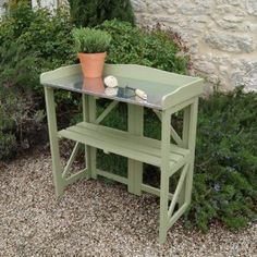 Exceptional Folding Potting Table/Bench In Painted Sage   Gift For The Gardener: Amazon.