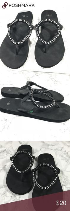 Sanuk Ibiza Monaco Black Embellished Yoga flipflop Like new. Smoke free home. Black with silver embellishments. Size 8 Sanuk Shoes Sandals