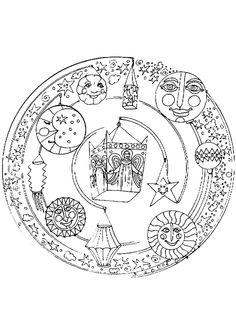 Mandala serti d'astres et d'anges à colorier.