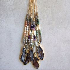 "2X HPDruzy & Natural Stone Necklace - #4 HP Best in Retail 5/1 & 7/13Perfect necklace for layering or wearing alone.  The necklaces are made with genuine stones and pearl beads with a beautiful agate gold plated Druzy pendant.  Each necklace is completed with a gold feather charm at the clasp.  The necklace length is approximately 35"".  Material: 18k Gold plated chain and genuine gemstones.  This listing is for #4 in the second photo.  Price is firm unless bundled.   Function & Fringe…"