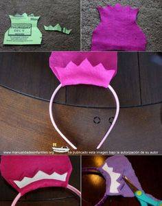 hacer corona princesa fieltro Frozen Birthday Party, Princess Birthday, Princess Party, Felt Crafts, Diy And Crafts, Ben E Holly, Diy For Kids, Crafts For Kids, Diy Birthday Banner