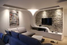 Creation of a TV stand in plasterboard Living Room Tv Unit Designs, Modern Tv Wall Units, House Design, Living Room Decor Inspiration, Ceiling Design Living Room, Drawing Room Ceiling Design, Tv Wall Design, Plafond Design, Room Design