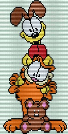 Odie, Garfield and Pookie Square Grid Pattern 66 Columns X 100 Rows (Pattern by me, Man in the Book) Cross Stitch Pattern Maker, Just Cross Stitch, Beaded Cross Stitch, Cross Stitch Patterns, Crochet Square Blanket, Crochet Blanket Patterns, Stitch Character, Pixel Art Grid, Perler Bead Art