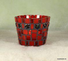 Windlicht rot schwarz 65 mm hoch von Mosaikkasten  Dekoration für Haus und Garten auf DaWanda.com