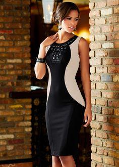 Vestido tubinho com pedrarias preto/branco comprar on-line - bonprix.de