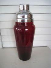 Vintage Red Glass Cocktail Shaker