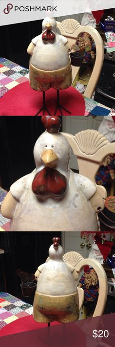 """Ceramic chicken Mrs. Hen is all ready to set up her home in your cozy kitchen for the Winter. She's ceramic and carrying a bucket of eggs. Very sturdy with iron legs and feet. She is 17"""" tall, and 10"""" wide with bucket. Beautiful addition to your kitchen. Other"""