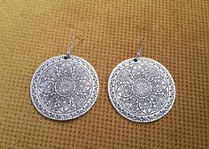 Mandala Earrings Boho Silver Earrings Tribal Jewelry Tribal