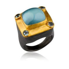 24K and oxidized silver Milky Way ring with cushion milky aqua and aquamarines. Lika Behar Collection