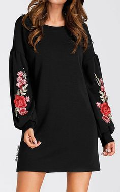online shopping for Romwe Women's Casual Floral Embroidered Lantern Long Sleeve Mini Dress from top store. See new offer for Romwe Women's Casual Floral Embroidered Lantern Long Sleeve Mini Dress Mom Outfits, Dress Outfits, Casual Dresses, Fashion Dresses, Women's Casual, Mode Russe, Applique Dress, Rose Applique, Romwe