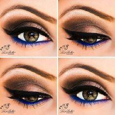 Brown and bright blue liner with violet inert corner: Brown eye makeup