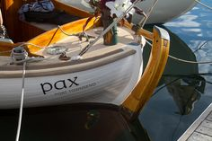 """The very shapely stern of """"Pax"""" at the Port Townsend Wooden Boat Festival, 2013"""