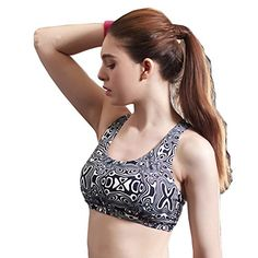 d50a4e08ecb52 Sports Bra Top Full Cup Seamless Brassiere Padded Fitness Bralette Black  Large at Amazon Women s Clothing store