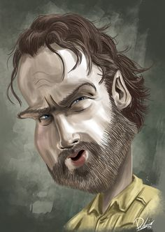 Andrew Lincoln as Rick in #TWD - caricature by Ribosio