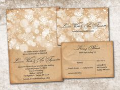 Wedding Invitation and RSVP Card Suite - Vintage Rustic White Winter Snow Flakes Personalised Double Sided Print on Etsy, $2.00