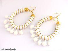 Pompom earrings. Tribal earrings. African jewelry. Boho chic earrings. Bohemian style. Dangle earrings. White earrings. Bohemian earrings.