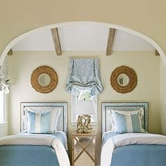 Contemporary touch for a beach house guest bedroom. Coastal Living Magazine.