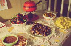 60s recipies: fondues, jello mold, chili con queso dip, bacon wrapped winnies, deviled eggs, chex mix, fruit and chocolate fonue