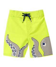 Gymboree Electric Yellow Octopus Swim Trunks - Infant, Toddler & Boys | zulily