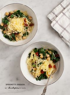 Spaghetti Squash w/ Chickpeas and Kale FB post said eliminate oil/cheese and add mushrooms and a little braggs amino