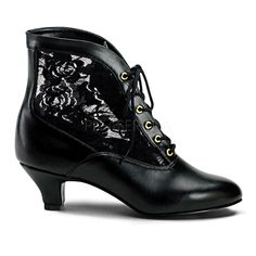 Vintage Pioneeer  Victorian Costume Granny Black Ankle Boots Shoes DAME05/B/PU #Funtasma #Shoes