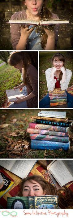 Senior photos with books! so cute!