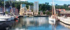 - Disse nye leilighetene kommer i stor grad til å gå til innflyttere som ser på Holmestrand som et idyllisk sted å bo, sa arkitekten fra Asplan Viak AS (Illustrasjon: Asplan Viak AS)