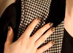 "Crocodile crackle at Dior's fall show. Try Sally Hansen Salon Effects ""Brattlesnake""!"