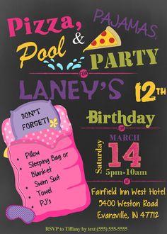 Girl's Pizza Pajama & Pool Swim Party Slumber by LennoxLairDesigns