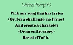 Pssssh I already do this. I never did it different. My first story is based of a song and many characters are born in lyrics and tunes