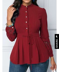 Lace Panel Wine Red Crinkle Chest Peplum Blouse Style :Cute Collar :Mock Neck Sleeve's Length :Long Sleeve Pattern Type :Patchwork Clothing's Length :Regular Color Scheme :Red Material Polyester, Spandex viaLace Panel Crinkle C - January 27 2019 atCh Red Blouses, Shirt Blouses, Blouses For Women, Blouse Styles, Blouse Designs, Look Fashion, Womens Fashion, Peplum Blouse, Peplum Dresses