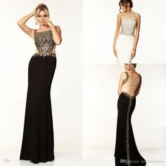 2015 Newest Hot Sale Scoop Beaded Sheath Black Evening Gown Luxurious Long Chiffon Party Prom Dresses Online with $108.07/Piece on Weddingpalace's Store | DHgate.com