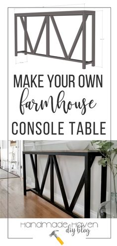 Console tables are probably one of my favorite kind of builds because it never takes too much work and it can really bring your entryway to life, and even better, this one was super cheap to make. I just love how this V console table looks in Kelly's entryway. #diyfurniture #woodworking #woodworkingprojects #diyhomedecor #farmhousestyle #farmhousedecor