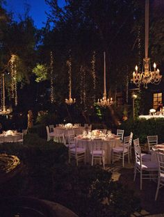 Chandeliers in trees - Sonoma Wedding from Lady Liberty Events + Joy Marie Photographers