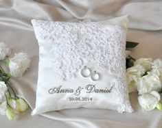 Lace Wedding Pillow, Vinateg  Ring Bearer Pillow,  White ring pillow, Classic ring pillow , 4lovepolkadots